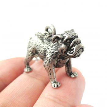 3D Detailed Bulldog Animal Charm Dog Lover Themed Necklace in Silver