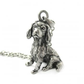 3D Detailed King Charles Spaniel Animal Charm Dog Lover Themed Necklace in Silver