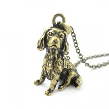 3D Detailed King Charles Spaniel Animal Charm Dog Lover Themed Necklace in Brass