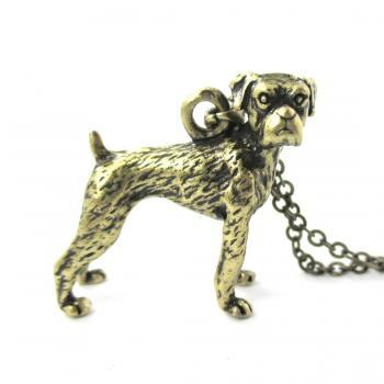 3D Detailed Boxer Dog Animal Charm Dog Lover Themed Necklace in Brass