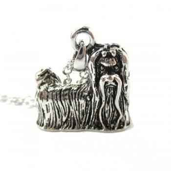 3D Detailed Maltese Dog Lover Animal Charm Necklace in Shiny Silver for Women