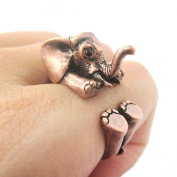 3D Baby Elephant Animal Wrap Around Ring in Copper | Size 5 to 8.5 Available