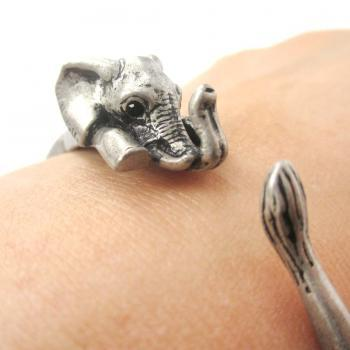 3D Baby Elephant Animal Wrap Around Bangle Bracelet in Silver | Animal Jewelry