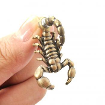 Fake Gauge Realistic Scorpion Shaped Animal 3D Two Part Stud Earrings in Bronze