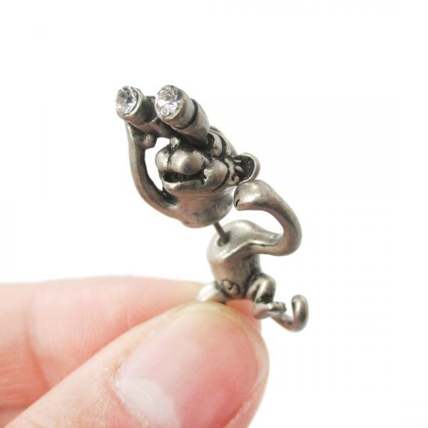 Monkey with Binoculars Shaped Front and Back Fake Gauge Earrings in Silver