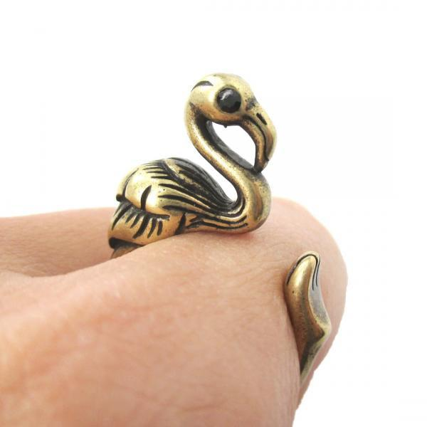 Flamingo Shaped Animal Ring in Bronze - Sizes 6 to 9