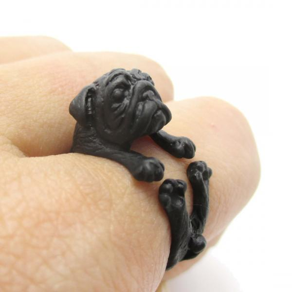 Pug Animal Ring Wrapped Around Your Finger in Black | Sizes 6 to 9