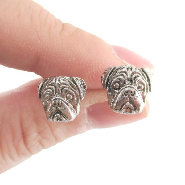 Pug Shaped Puppy Dog Theme Stud Earrings in Silver