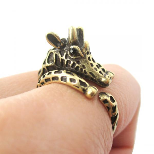 Brass Giraffe Animal Ring Jewellery - Gold