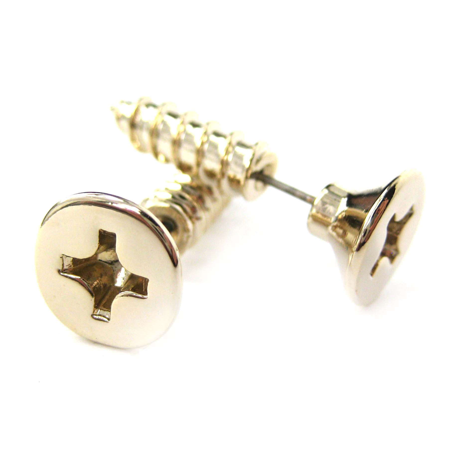 Fake Gauge Realistic Nuts And Bolts Stud Earrings In Shiny Gold