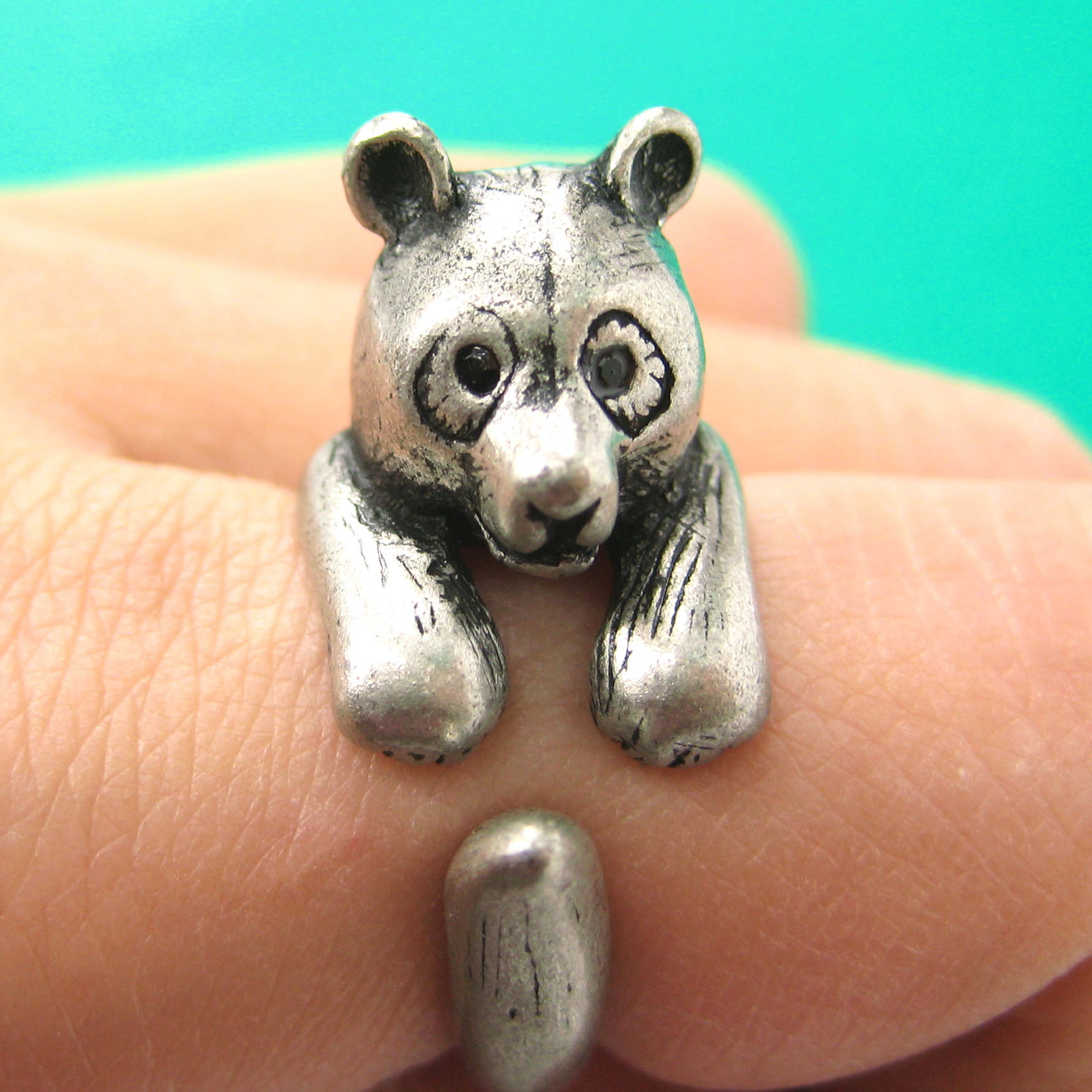Bear In Hing Reng 2: Large 3D Panda Bear Animal Wrap Around Hug Ring In Silver